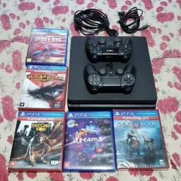 PlayStation 4 Slim 1TB de memória 2 controles 6 jogos e todos os cabos