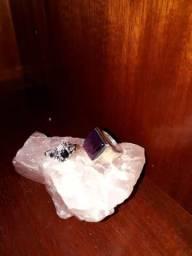 Anel prata com pedra safira e anel prata com pedra ametista número 13 14