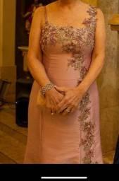 Vestido Mãe de Noiva Rosa Satinee