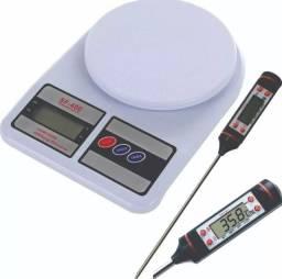 (NOVO) Kit Balança De Cozinha Alta Precisão Digital 10kg com Termômetro Culinário
