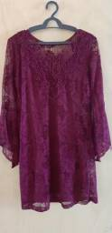 Vestido rendado - cor: vinho