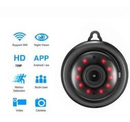 Mini Câmera 5.8 Cm Conexão Wifi Infravermelho V380 720p