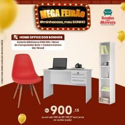 Kit Estante Biblioteca ESM 206 + Mesa de Computador Byte + Cadeira Eames Dkr Wood