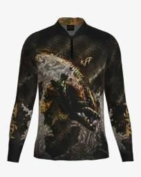 Camisa Camiseta Pesca King Proteção Solar Uv Traira Preta