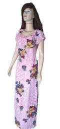Vestido longo tecido estampado floral rosa moda evangélica com babado