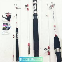 Kit pesca Molinete+vara 1,50 + Anzol de Brinde
