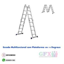 Título do anúncio: Escada multifuncional com plataforma 4x4 16 degraus