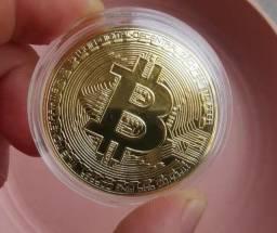 Título do anúncio: Moeda decorativa Bitcoin banhado a ouro