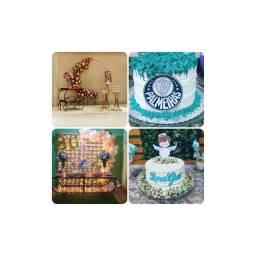 Kit festa. Decoração, bolo e doces.