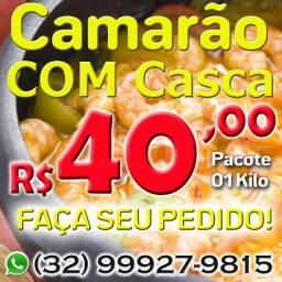 Camarão Com Casca - pct 01kg - R$ 40,00