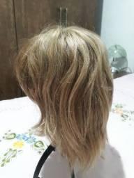 Peruca com cabelo humano feminino, curto e loiro