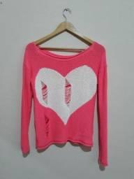 Casaco tricot rosa neon seminovo