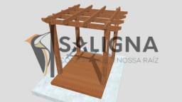 Kit pergolado 2x2m madeira de lei c/ deck pinus autoclavado + base.
