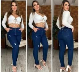 calça jeans feminina cintura alta com elastano