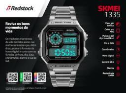 44fcbe6948f Relógio Retro Digital Skmei 1335 Aço Inox - Prata   3x Sem Juros + Frete  Grátis