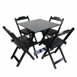 Mesa de bar e restaurante dobrável com 4 cadeiras P718