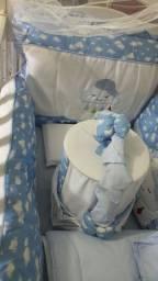 Kits de berço completo azul bebê de nuvenzinha!