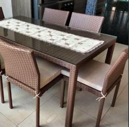 Mesa de Fibra Jantar com Tampo de Vidro com 6 Cadeiras