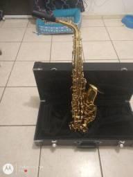 Saxofone alto eagle dourado.
