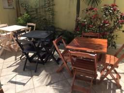 Jogo Mesa e cadeiras Com ou Sem Pintura Tampo em Madeira Maciça