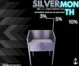 Banheira 100% Inox silver month mês prata na Aser inox aproveita