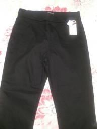 Calça masculina Jean linha reta marca lisa Mour tamanho 50 preta