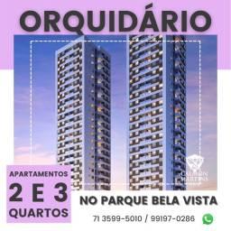 Apartamento 2/4 com suíte e varanda em 58m² - Orquidário