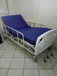Cama hospitalar semi luxo com colchão 3 movimentos