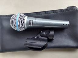 Título do anúncio: Microfone shure beta 58 beta58a Acompanha bag/bolsa e suporte/cachimbo da shure!