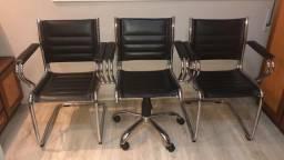 Conjunto de 3 cadeiras de escritório