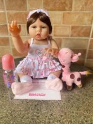 Linda Boneca bebê Reborn toda em Silicone Realista 48cm Nova Original (aceito cartão )