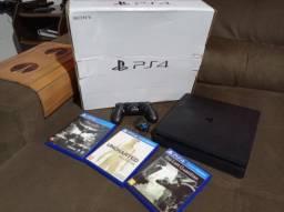 PS4 Slim 1TB com 1 controle e 3 jogos