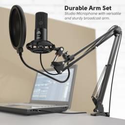 Monte seu próprio estúdio de Podcast- Microfone Fifine T669 condensador cardióide preto