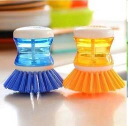 Escova Lava Louça Dispense Dosador De Detergente Cozinha
