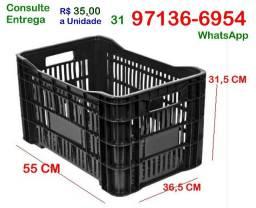 Caixa Vazada Plástica Agricola-Nova-cor Preta- Organização padaria casa