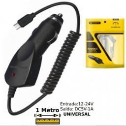 Carregador Veicular Para V8 Com Cabo Em Espiral 1 Metro