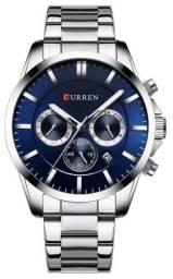 Relógio Curren 8358 Prata e Azul Original - Novo, Nota fiscal, Parcela sem juros