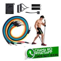 Kit Musculação Exercícios - 11 Itens - 5 Elásticos