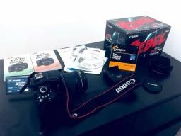 Camera Canon Eos Rebel T4i com a lente 18-135mm STM