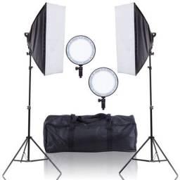 Kit Softbox Live Stream Iluminador Led 50x70cm Fort 300w C/ Bolsa - Loja Natan Abreu