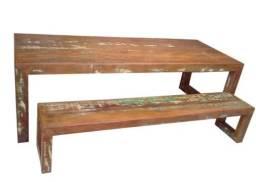 Jogo de Mesa Rústico Harpia em Madeira de Demolição - Cód 1545