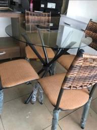 Conjunto de mesa junco 4 cadeiras