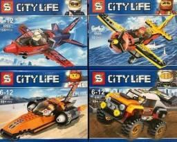 R$ 55 Locos lego De Montar City Life Avião carros , lancha Peças Air Race Acrobaci