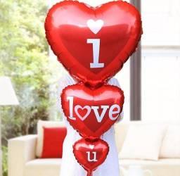 Balão Metalizado Coração Triplo - I Love You - 102,5 Cm X 47