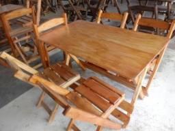 Mesas 1,20x70 com 4 cadeiras madeira maciça para restaurante,bar,pub,churrascaria e outros