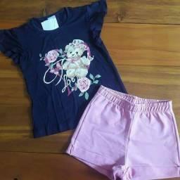Conjunto Infantil Blusa de Ursinha e Bermuda Tamanho 6