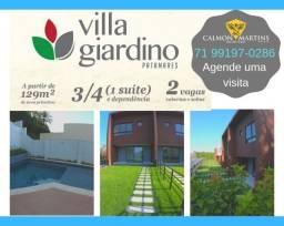 Casas com 3/4 (1 suíte), em 129m² + 2 vagas de garagem - Villa Giardino