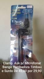 Clamp Ask p/ Microfonar Bangô Tumbadora timbal e surdo