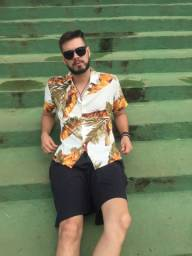 Camisa floral e listradas sem manga masculina
