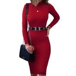 Vestido midi manga longa cacharrel preto, vermelho e cinza.